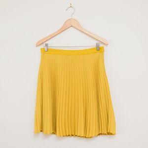 LOFT Pleated Mustard Yellow Skirt